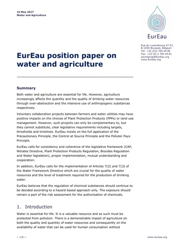 Water and Agriculture