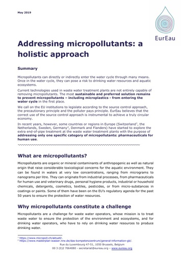 The holistic approach to addressing micropollutants; 2019 update of source control