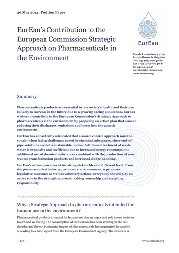 Strategic Approach on Pharmaceuticals in the Environment