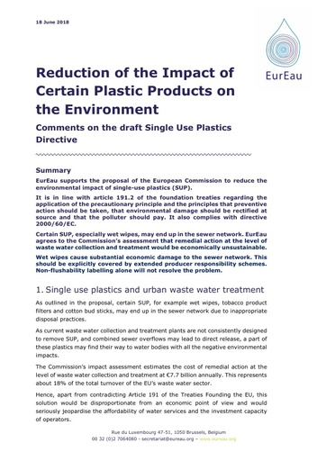 Directive for the Reduction of the Impact of Certain Plastic Products on the Environment