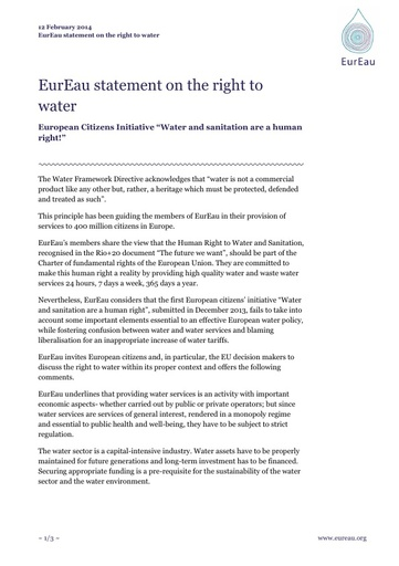 """Right to Water - European Citizens Initiative """"Water and sanitation are a human right!"""""""