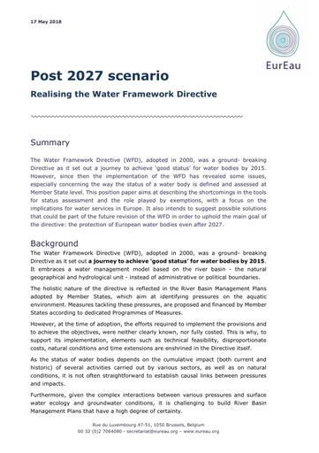 Post 2027 Scenario - Realising the WFD
