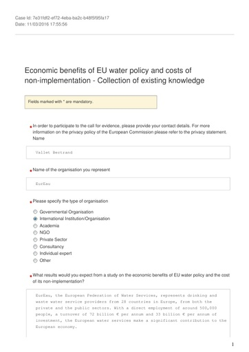 Consultation on the economic benefits of EU water policy and the costs of non implementation March2016