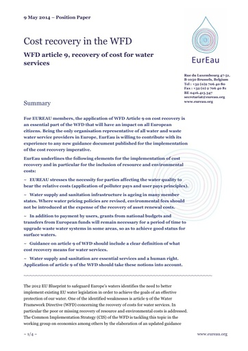 Cost Recovery in the WFD - WFD article 9