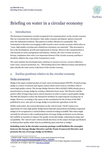 Briefing note on water and the Circular Economy