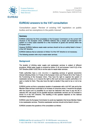 Consultation paper on VAT April2014