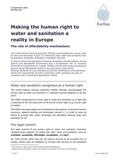 Making the Right to Water and Sanitation a Reality Europe - The role of affordability mechanisms