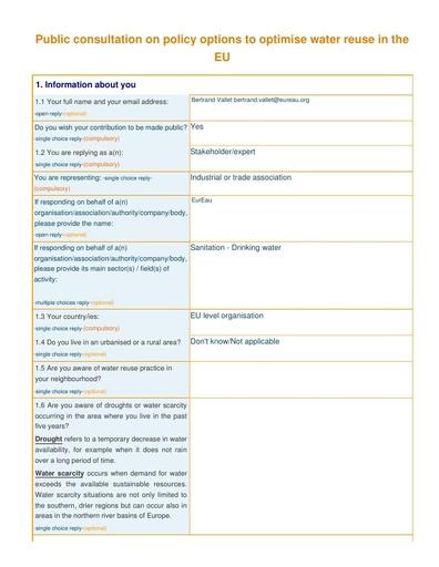 Consultation on water reuse November2014
