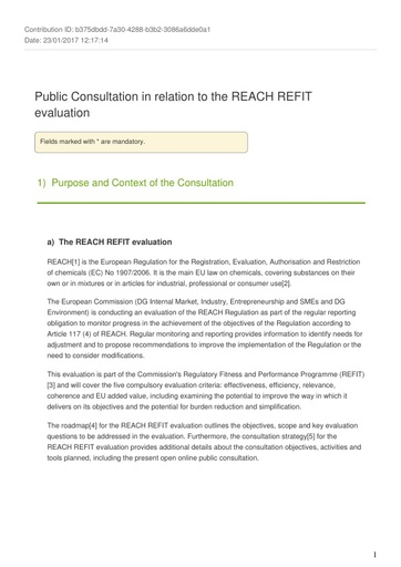 Consultaiton on REACH refit January2017