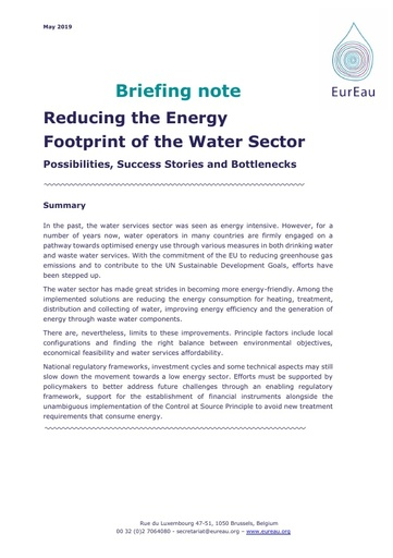 Briefing note on Reducing the Energy Footprint of Water Sector