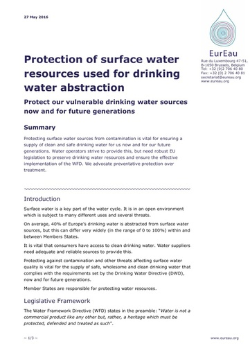 Protection of Surface Water Resources used for Drinking Water abstraction