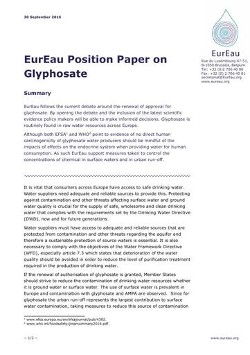 Position paper on glyphosate