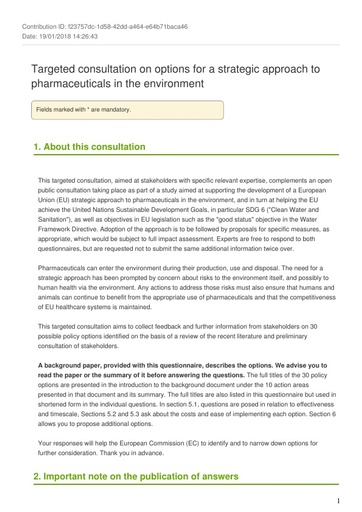 Consultation on Pharmaceuticals in the Environment - February2018