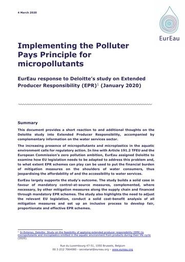 EurEau comments on the Deloitte EPR study