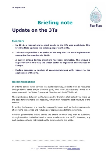 Briefing note - EurEau update on the 3Ts
