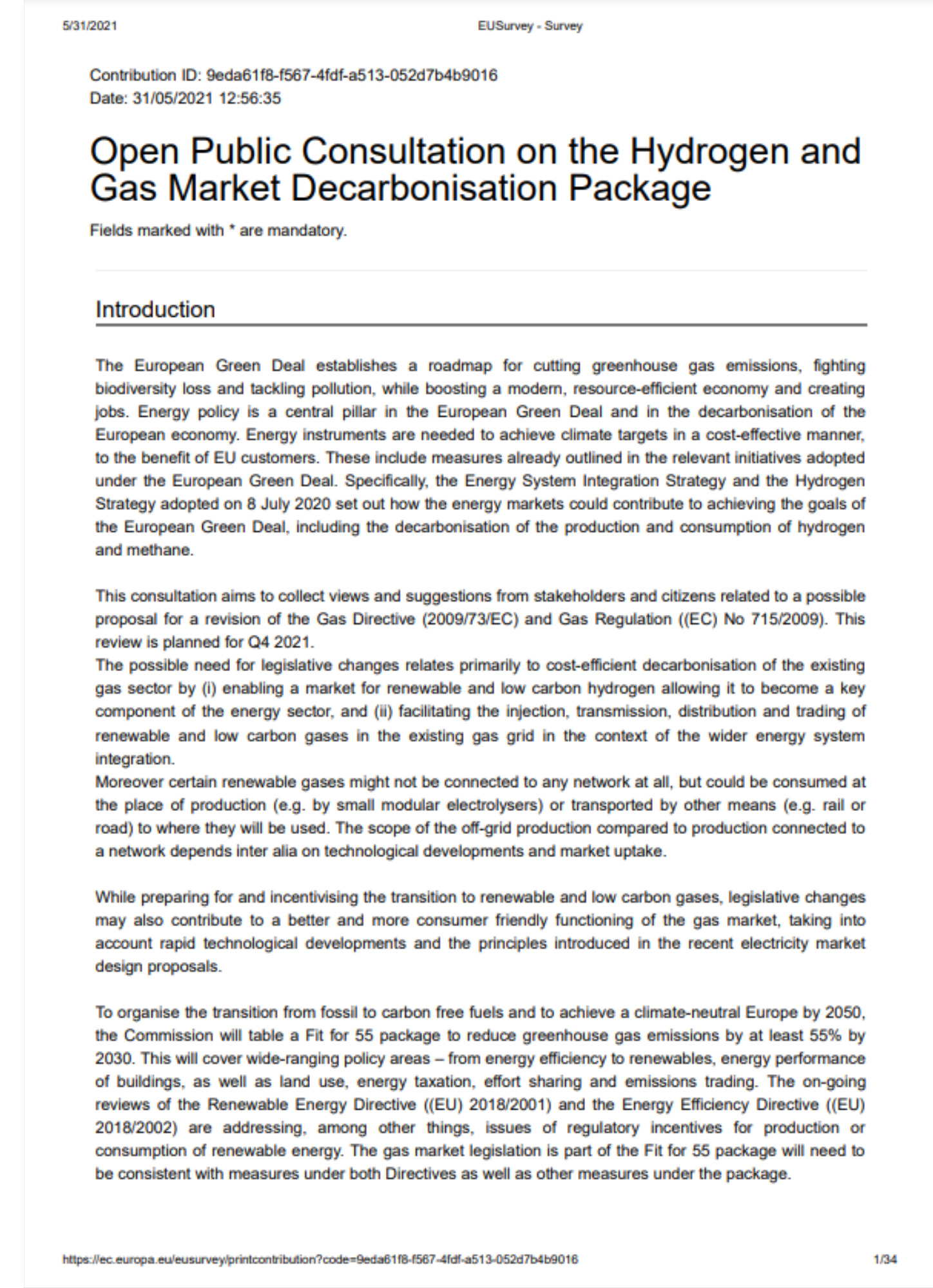 EurEau reaction to the public consultation on the Hydrogen and Gas Market Decarbonisation Package
