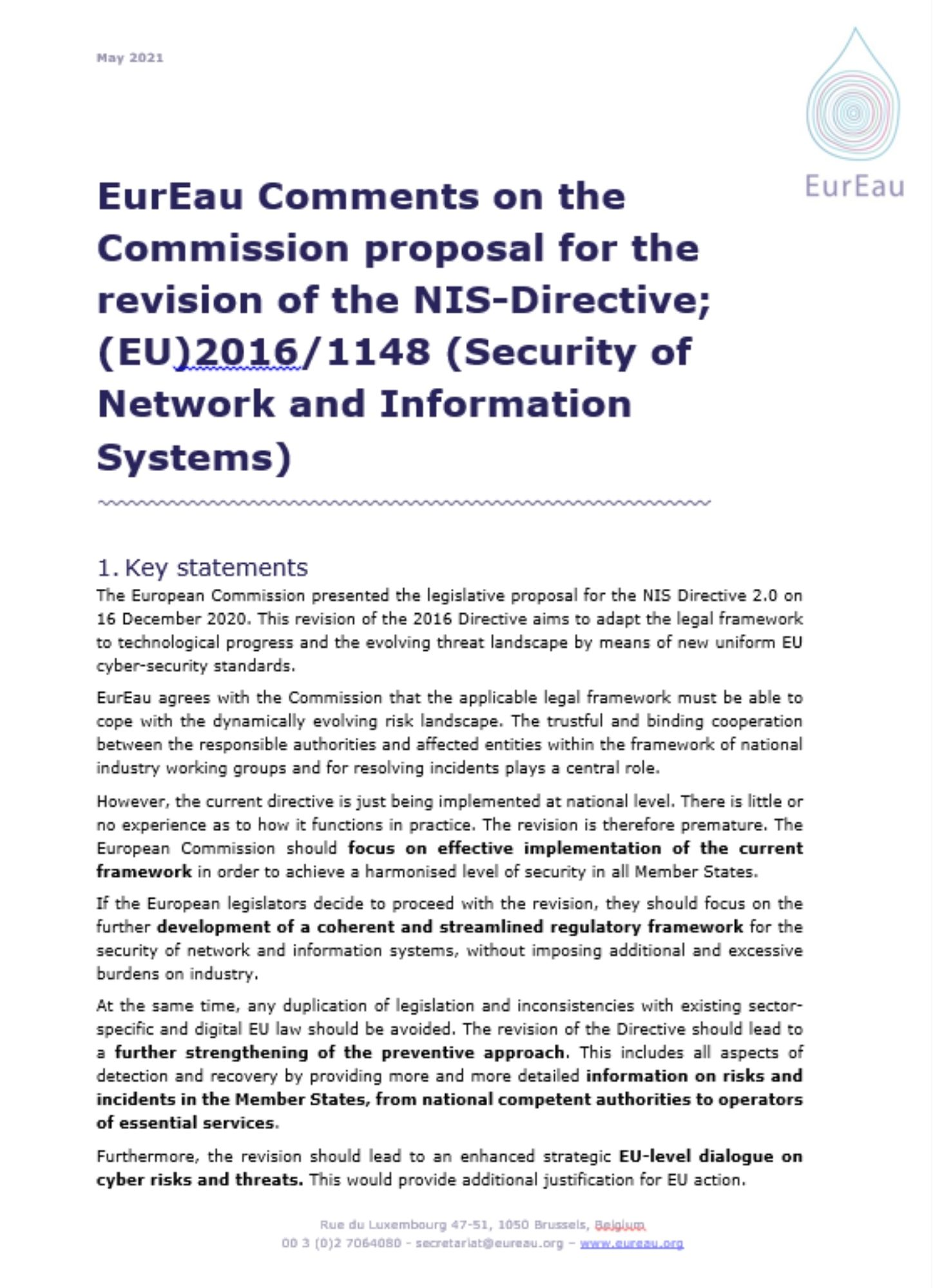 EurEau feedback on the roadmap for the evaluation of the Sewage Sludge Directive