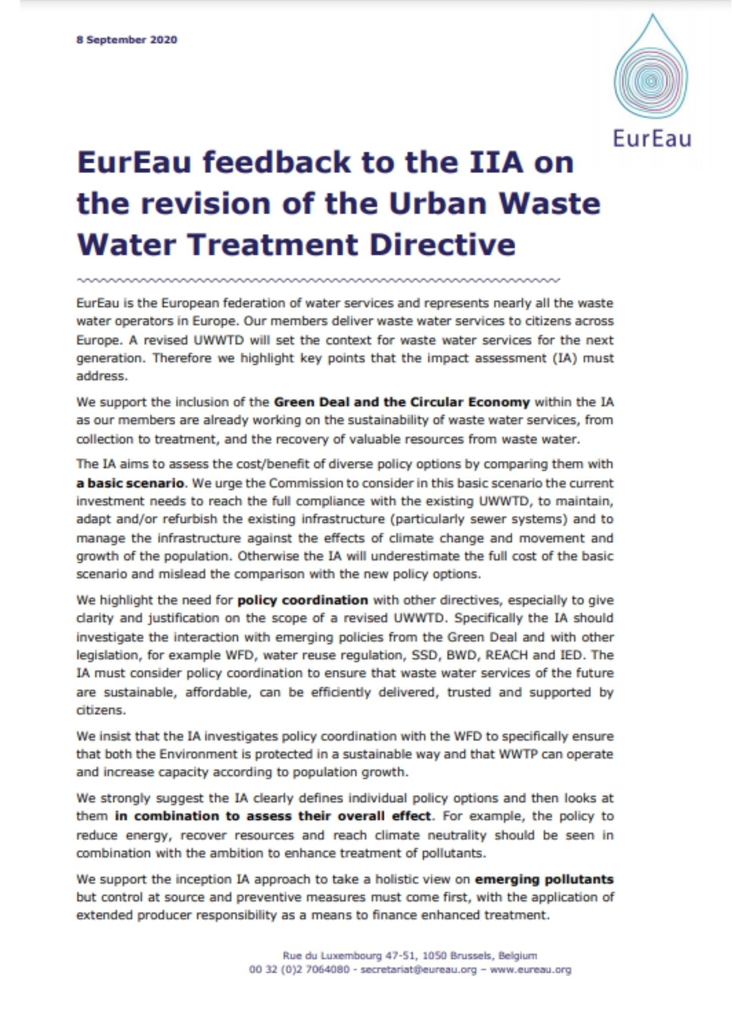 EurEau feedback on the Inception Impact Assessment of the UWWTD
