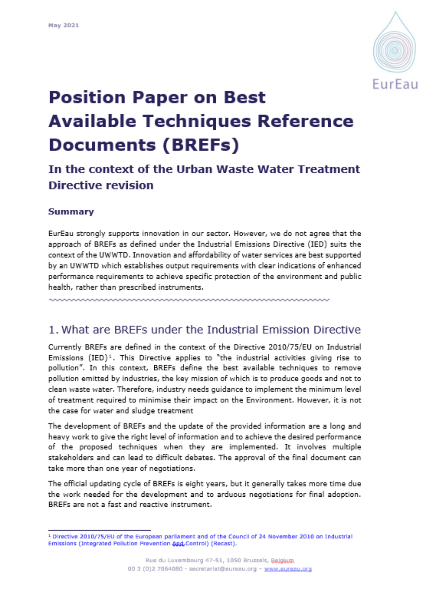 Position Paper on Best Available Techniques Reference Documents (BREFs)
