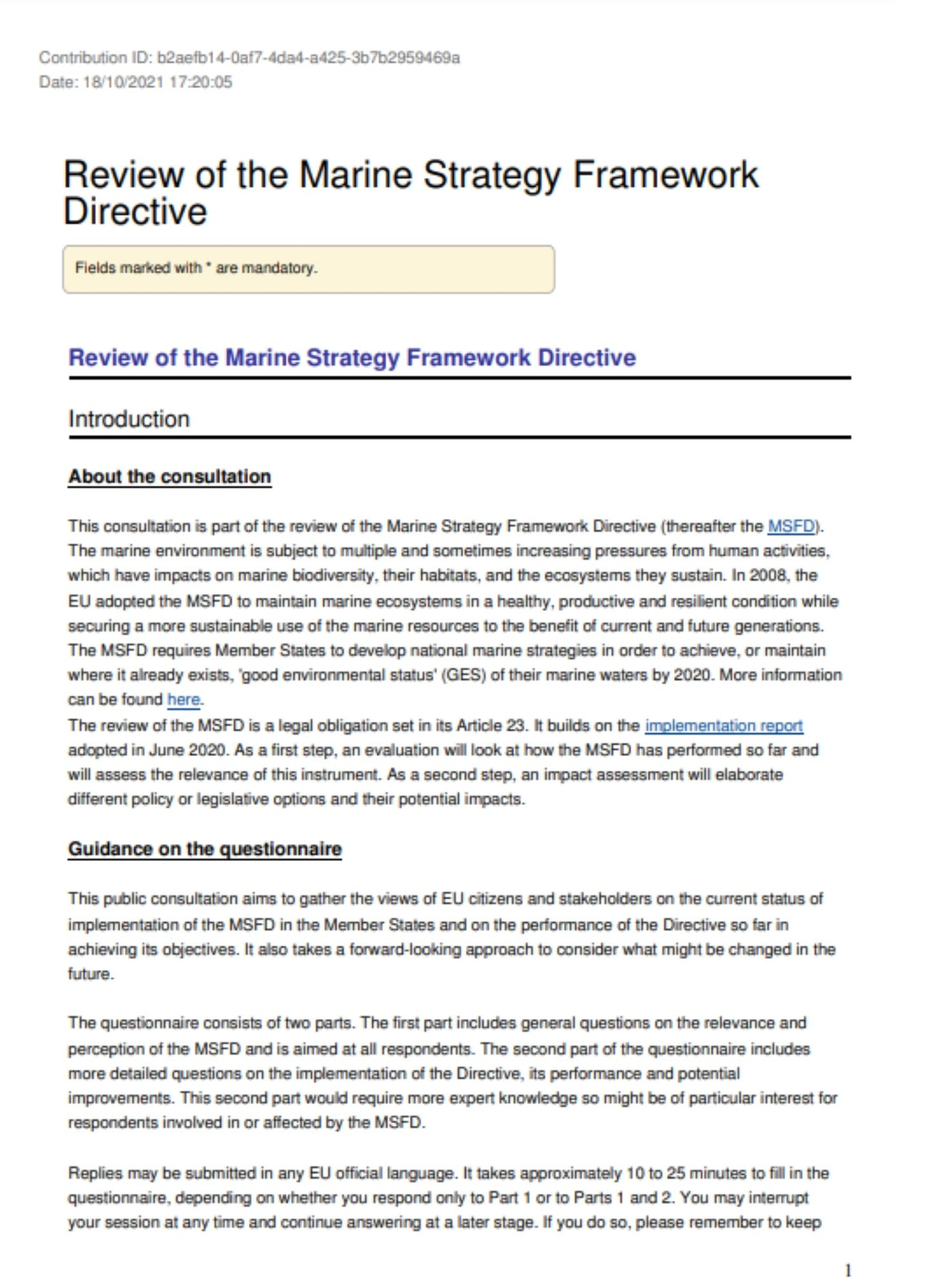 Contribution to the Public Consultation on the Marine Strategy