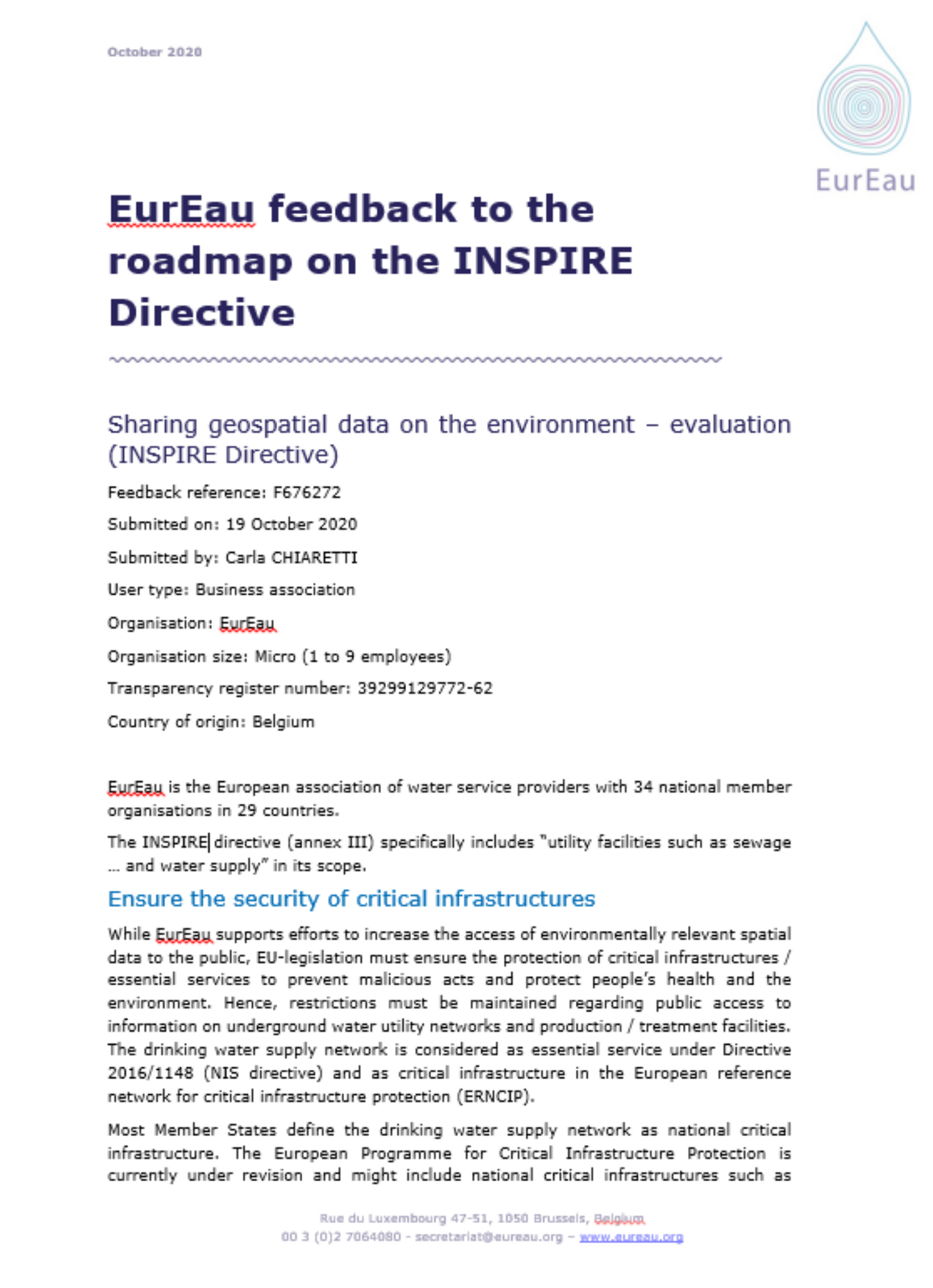 EurEau feedback to the roadmap on the INSPIRE Directive