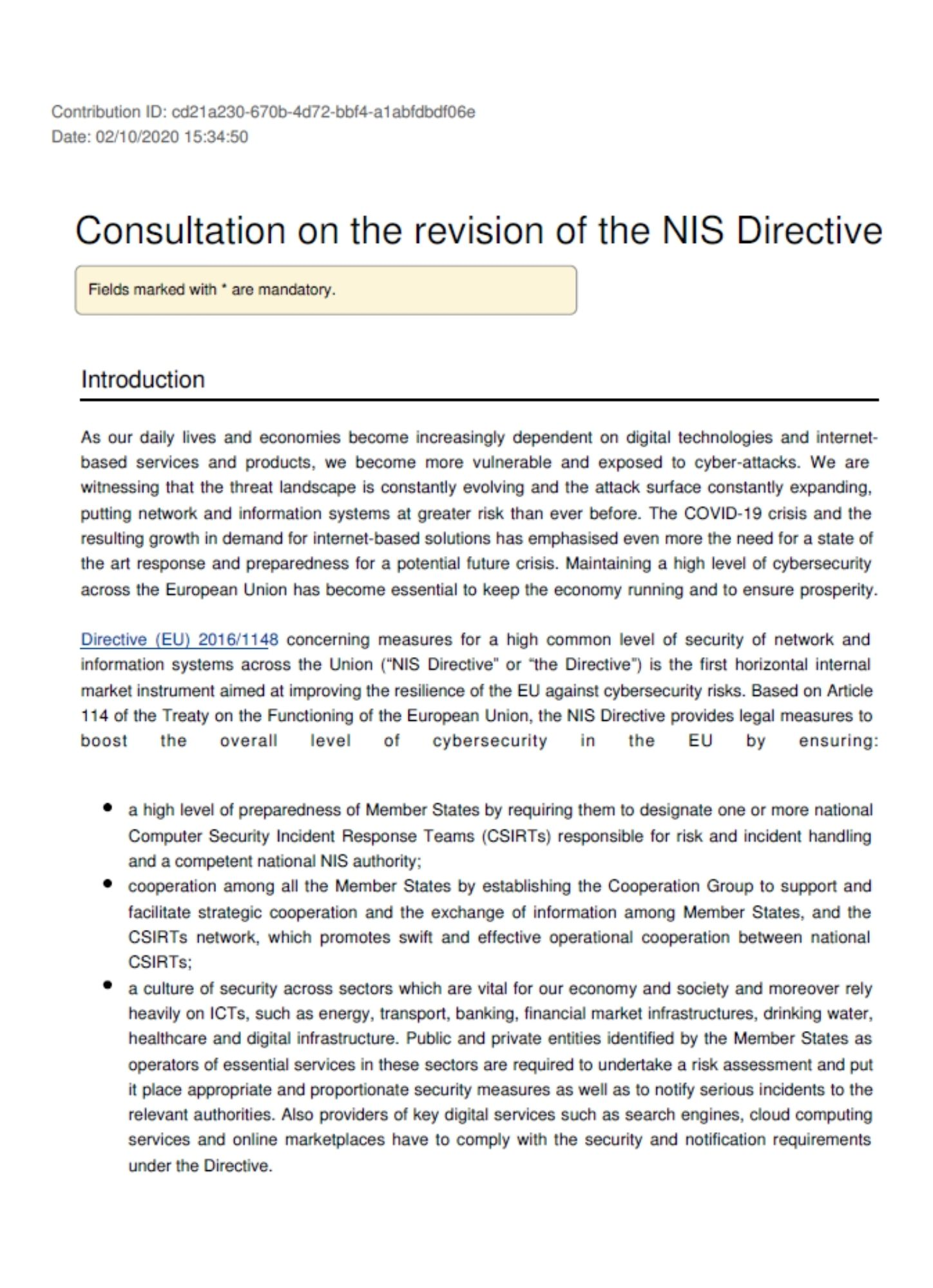 EurEau reaction to the public consultation on the NIS Directive