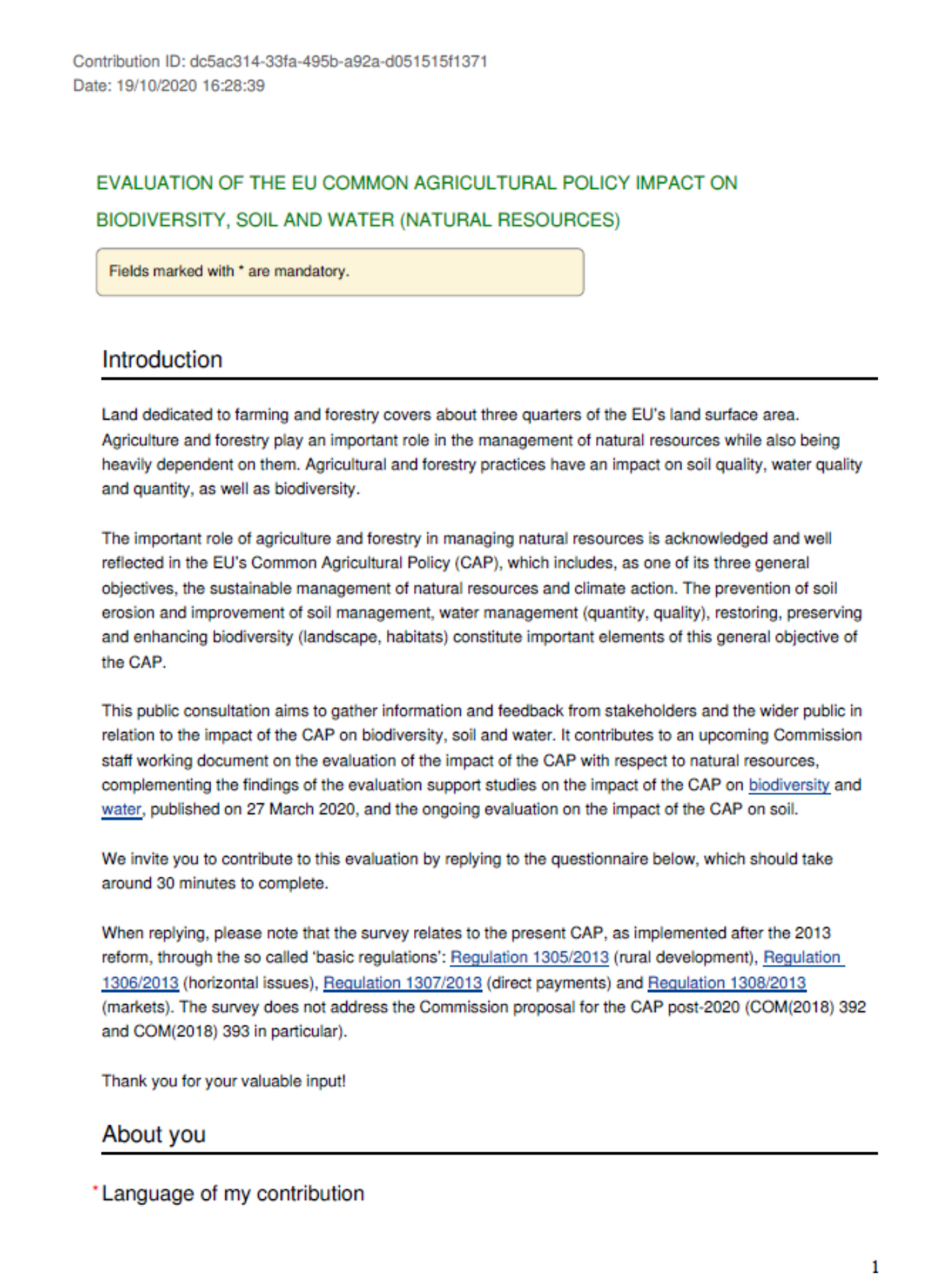 Contribution to the Public Consultation on the impact of CAP on water, biodiversity and soil