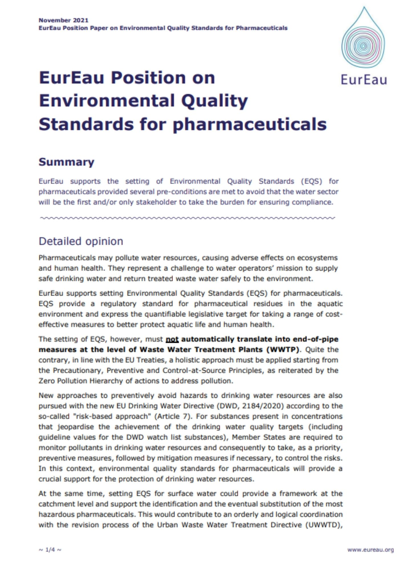 Position paper on the Precautionary and Innovation Principles