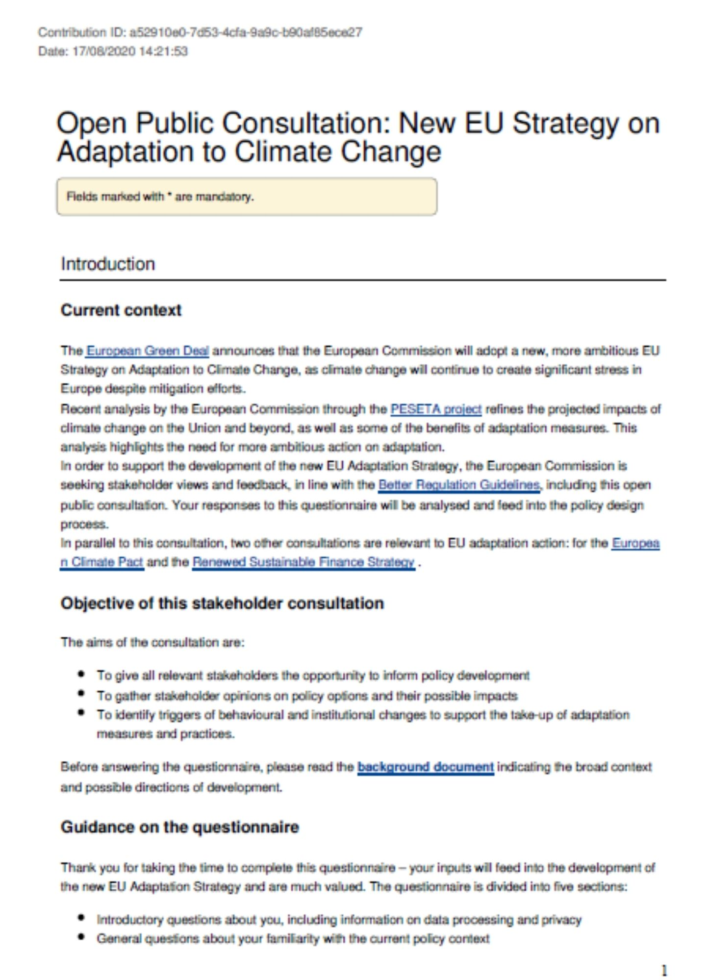 Consultation on climate change adaptation (2020)