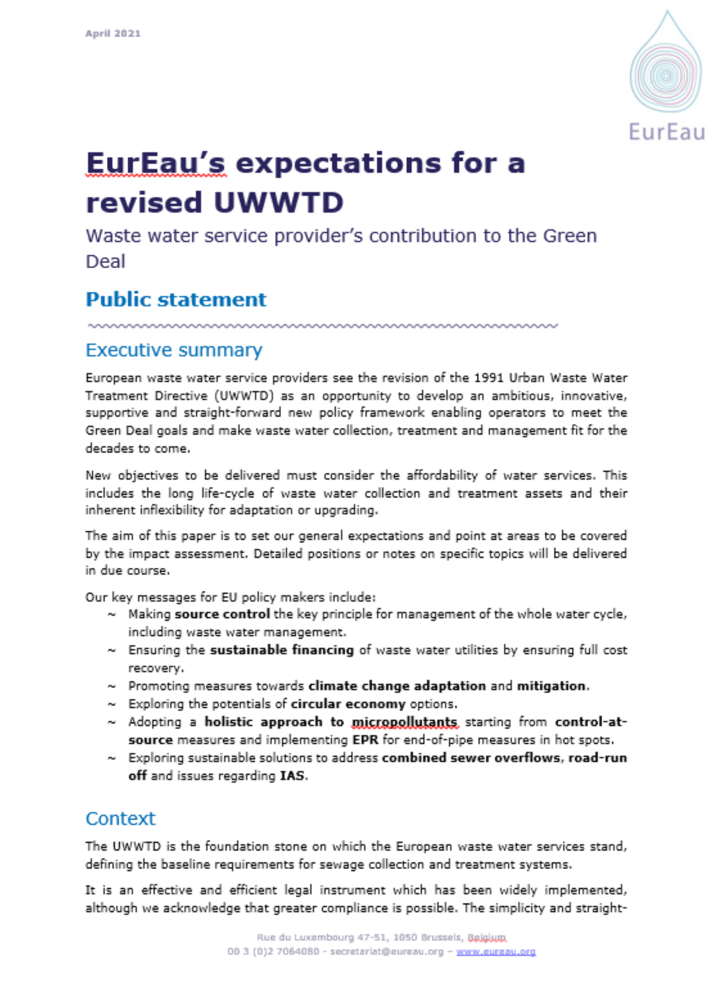 EurEau expectations in UWWTD revision process: public statement