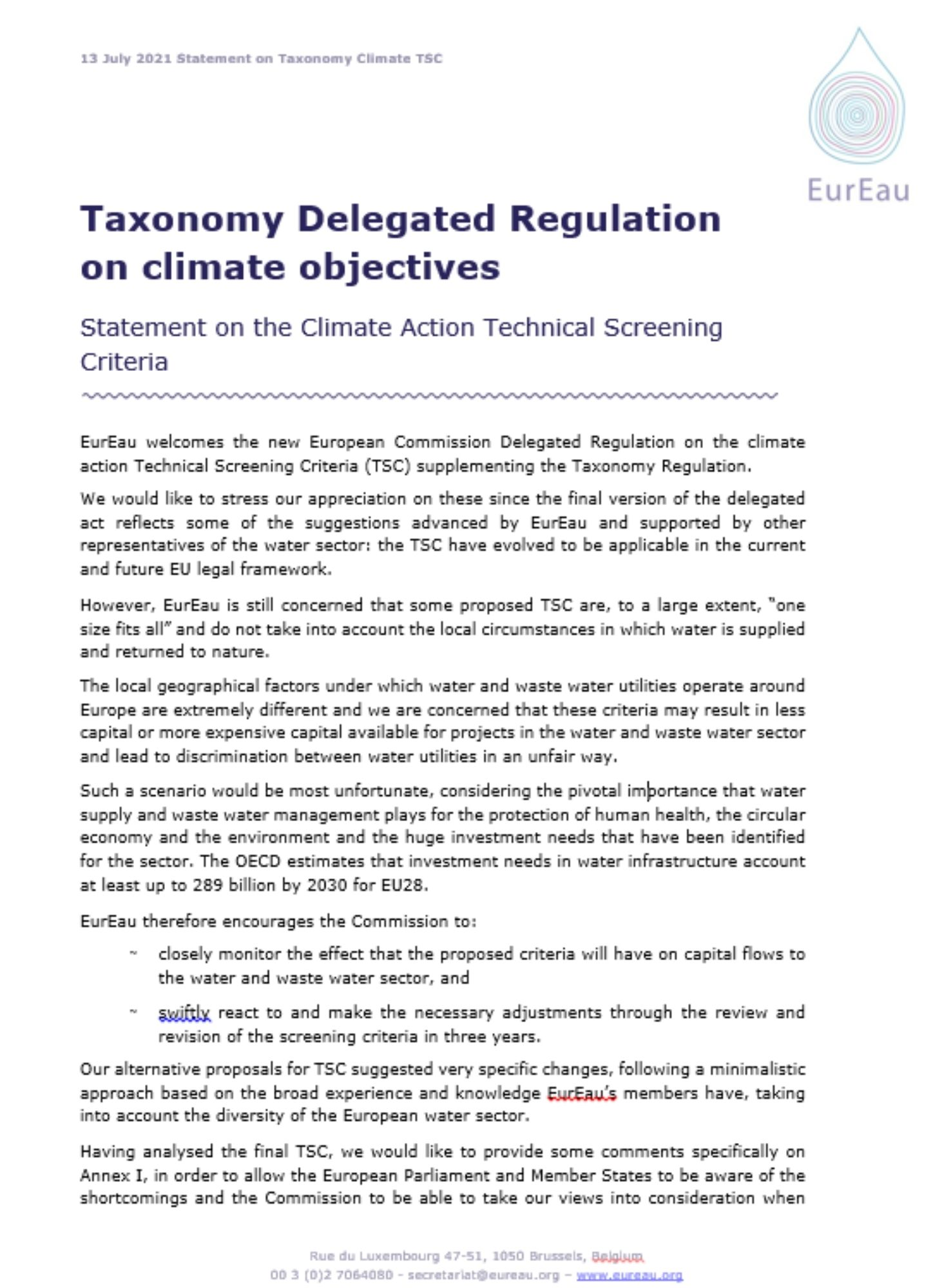 Taxonomy Delegated Regulation on climate objectives