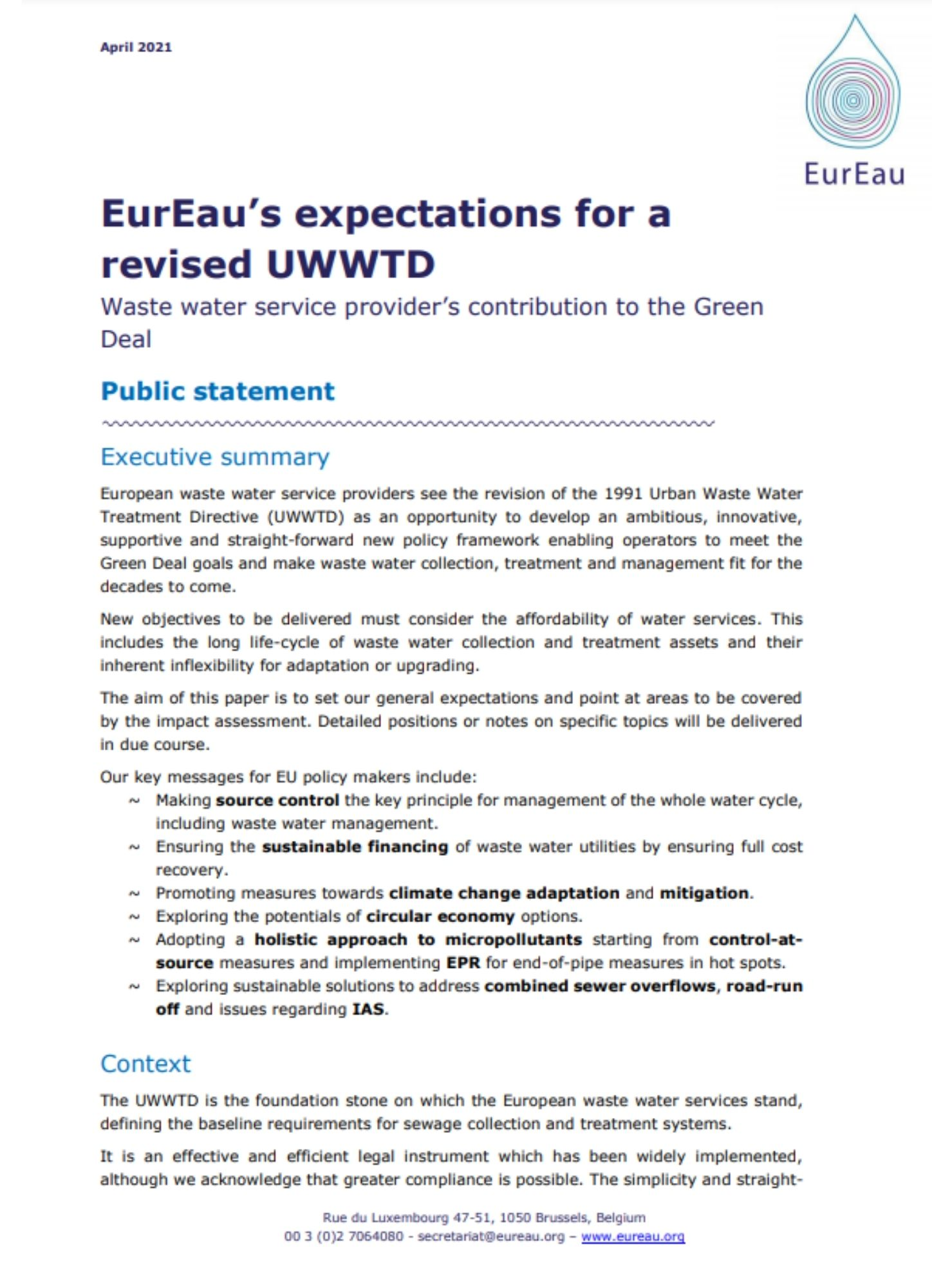 EurEau expectations in the UWWTD revision process: public statement