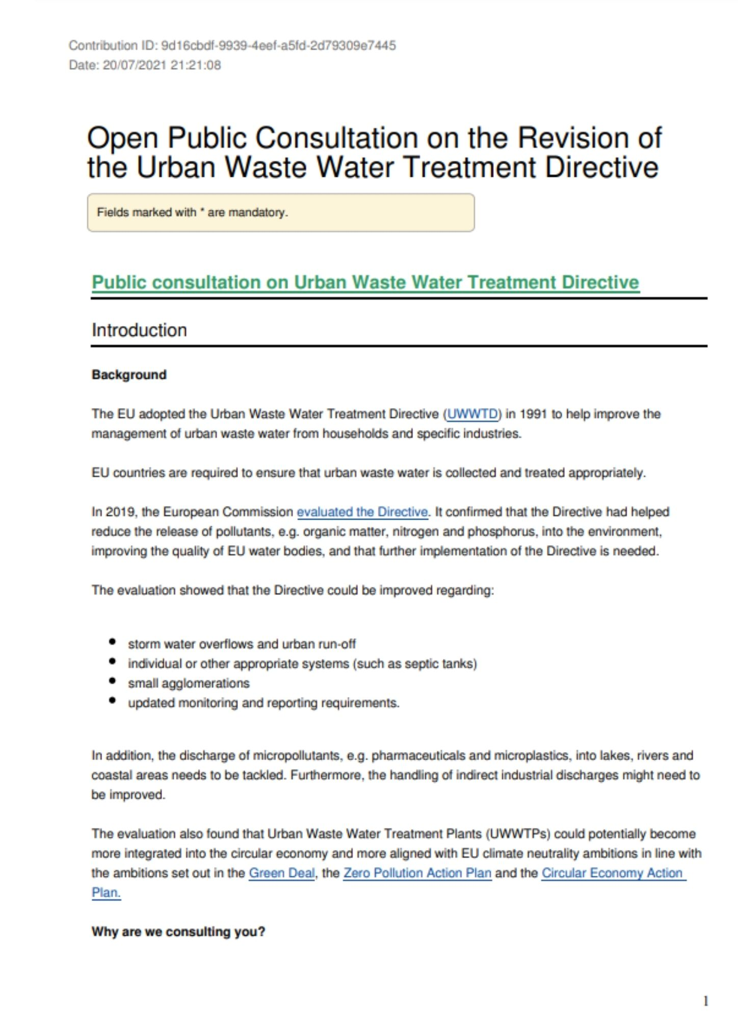 EurEau answer to the public consultation on the UWWTD Revision