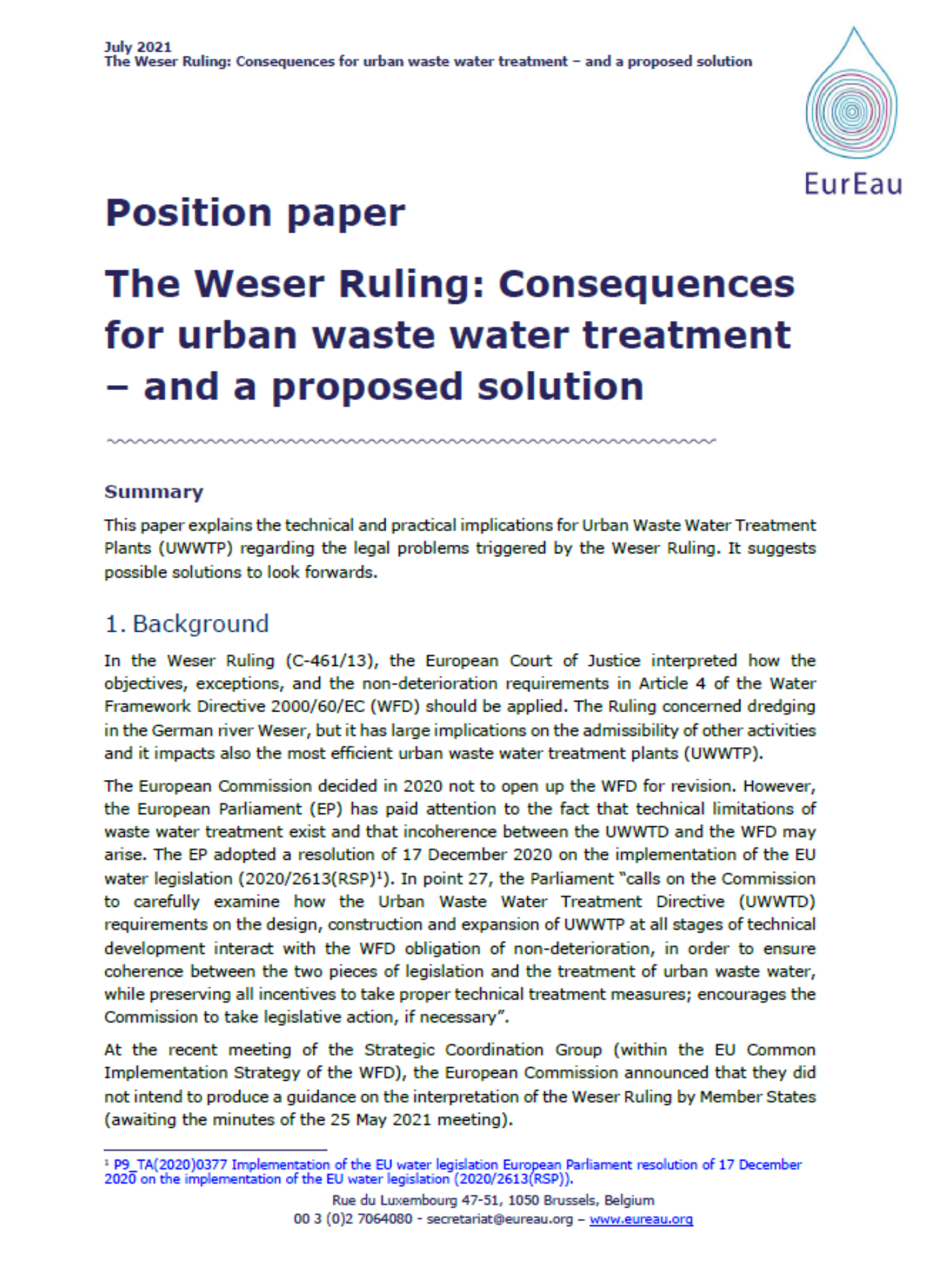 Position paper on the Weser Ruling and its effects on UWWTP